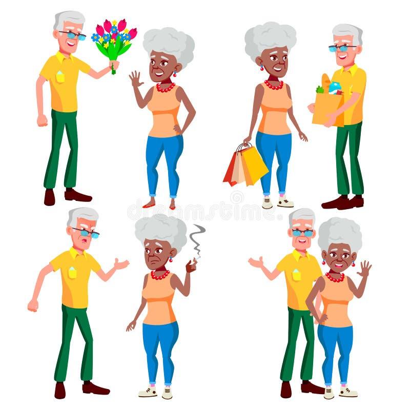 Vecteur réglé de couples pluss âgé Grand-papa avec la grand-mère lifestyle Vieux famille Caractères aux cheveux gris Couples de illustration stock