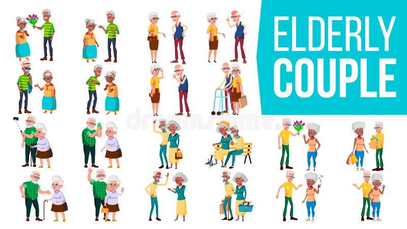 Vecteur réglé de couples pluss âgé Grand-papa avec la grand-mère lifestyle Vieux famille Caractères aux cheveux gris Concept soci illustration de vecteur
