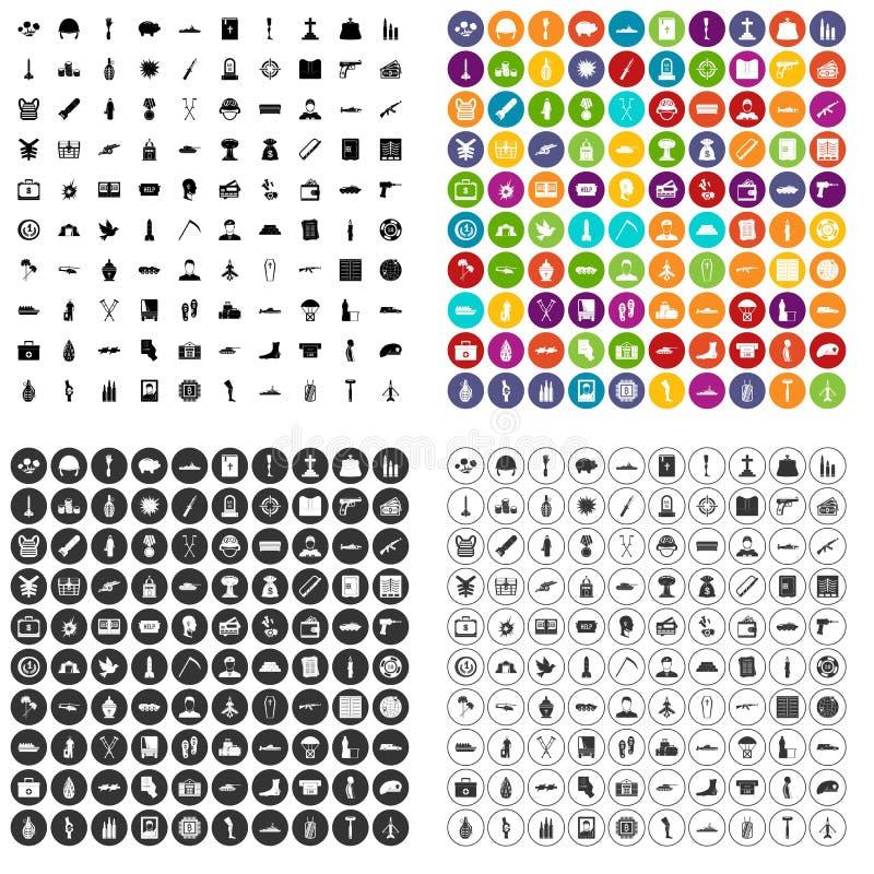 100 vecteur réglé de crimes de guerre par icônes variable illustration libre de droits