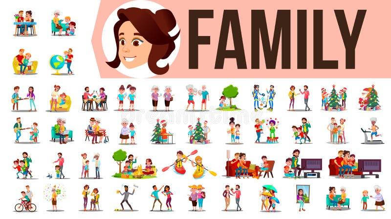 Vecteur réglé de famille Membres de la famille passant le temps ensemble à la maison, extérieur Père, mère, fils, fille, grand-mè illustration libre de droits