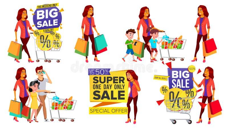 Vecteur réglé de femme d'achats Les gens dans le mail Famille, enfants Achat du concept Client heureux Tenir les paquets de papie illustration libre de droits