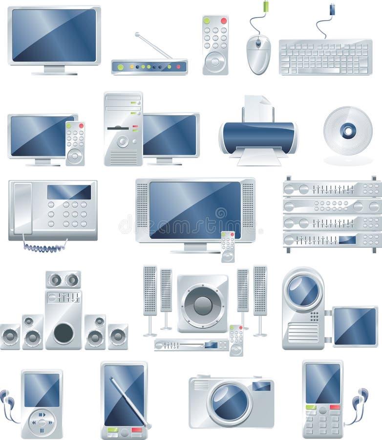 vecteur réglé de graphisme de matériel électronique illustration stock