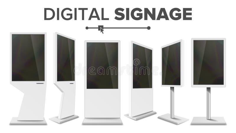 Vecteur réglé de kiosque de contact de Signage de Digital Écran de visualisation Support de multimédia Signage élevé d'affichage  illustration stock