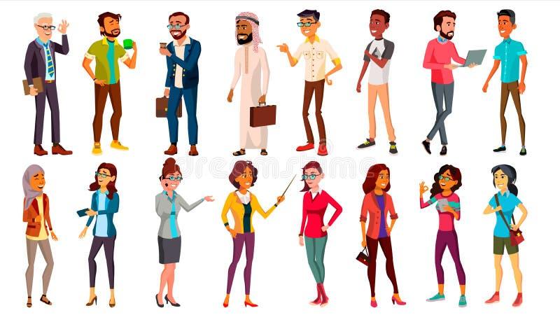 Vecteur réglé de personnes multinationales différents âges Hommes, femmes Caractère professionnel Travailleurs de position D'isol illustration de vecteur