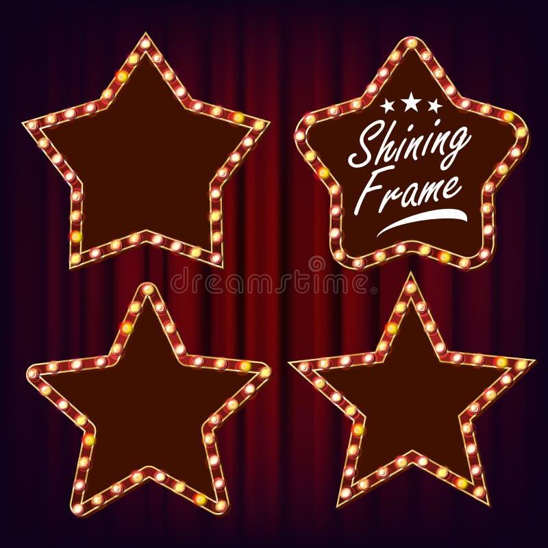 Vecteur réglé de rétro cadre d'étoile Cadre réaliste d'étoile de lampe d'éclat panneau d'affichage 3D rougeoyant électrique Néon  illustration libre de droits