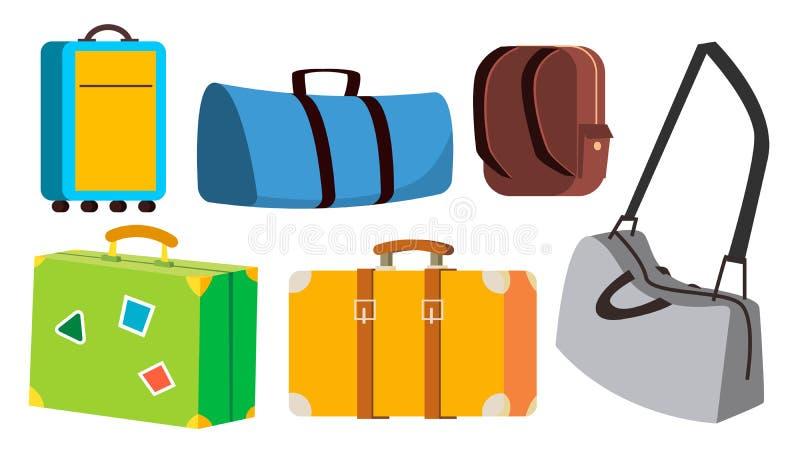 Vecteur réglé de sac de voyage Classique, rétro, moderne, vintage Voyage, icône de voyage d'été Valise de tourisme Bande dessinée illustration libre de droits