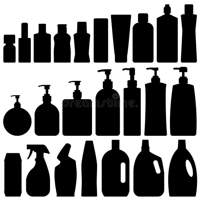 Vecteur réglé de silhouette de salle de bains illustration libre de droits