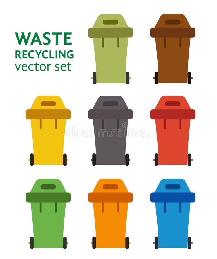 Vecteur réglé de tri de rebut de poubelle de déchets illustration libre de droits