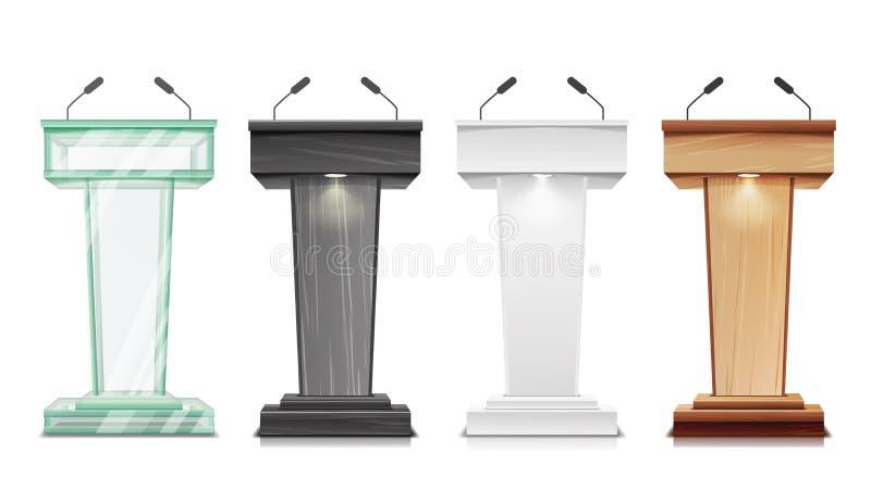 Vecteur réglé de Tribune Support d'estrade de podium avec des microphones Présentation d'affaires ou conférence, discours de disc illustration de vecteur