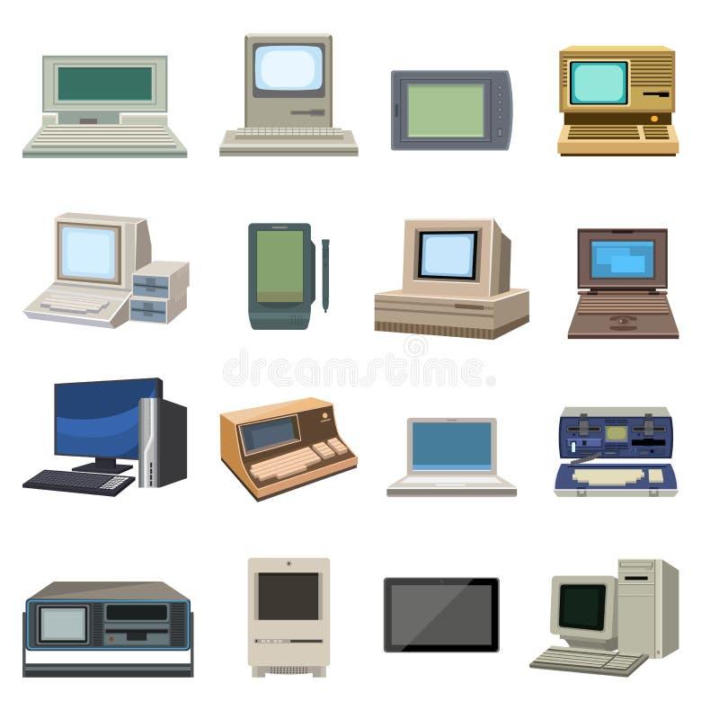 Vecteur réglé de vieil ordinateur de vintage illustration stock