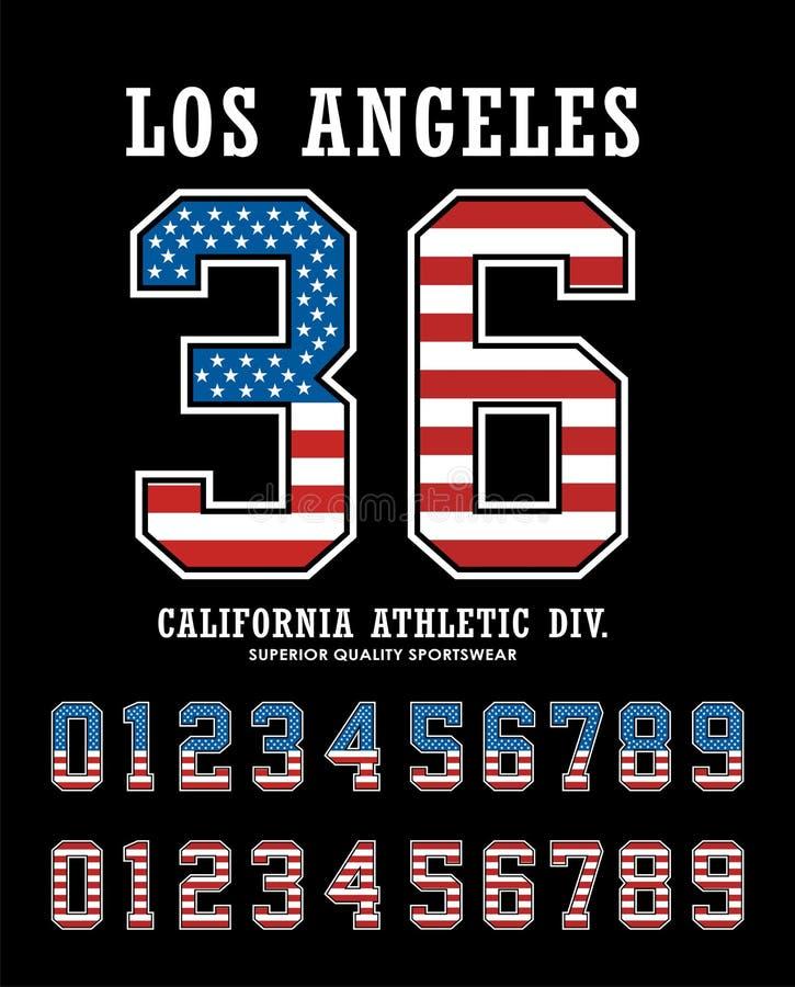 Vecteur réglé des Etats-Unis de drapeau de nombre de Los Angeles illustration libre de droits