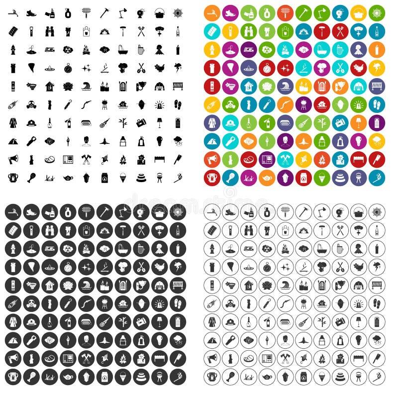 100 vecteur réglé du feu par icônes variable illustration stock
