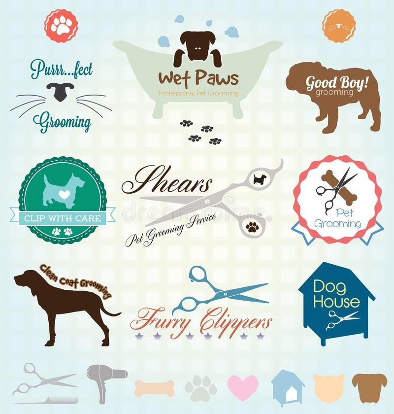 Vecteur réglé : Labels de toilettage d'animal familier illustration libre de droits
