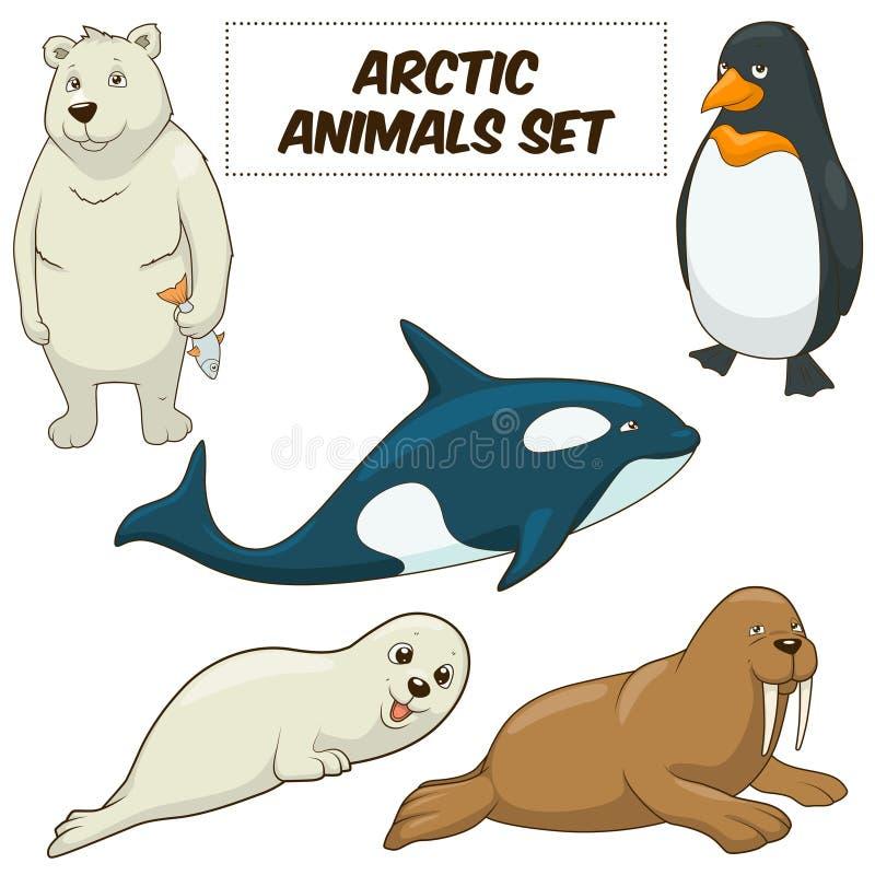 Vecteur réglé par animaux arctiques de bande dessinée illustration de vecteur
