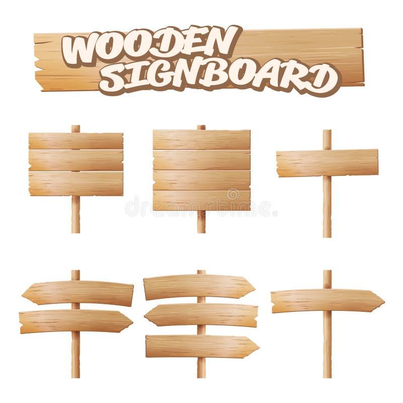 Vecteur réglé par enseignes en bois Bannière vide de bande dessinée Flèche, planche avec des fissures Éléments matériels en bois  illustration de vecteur