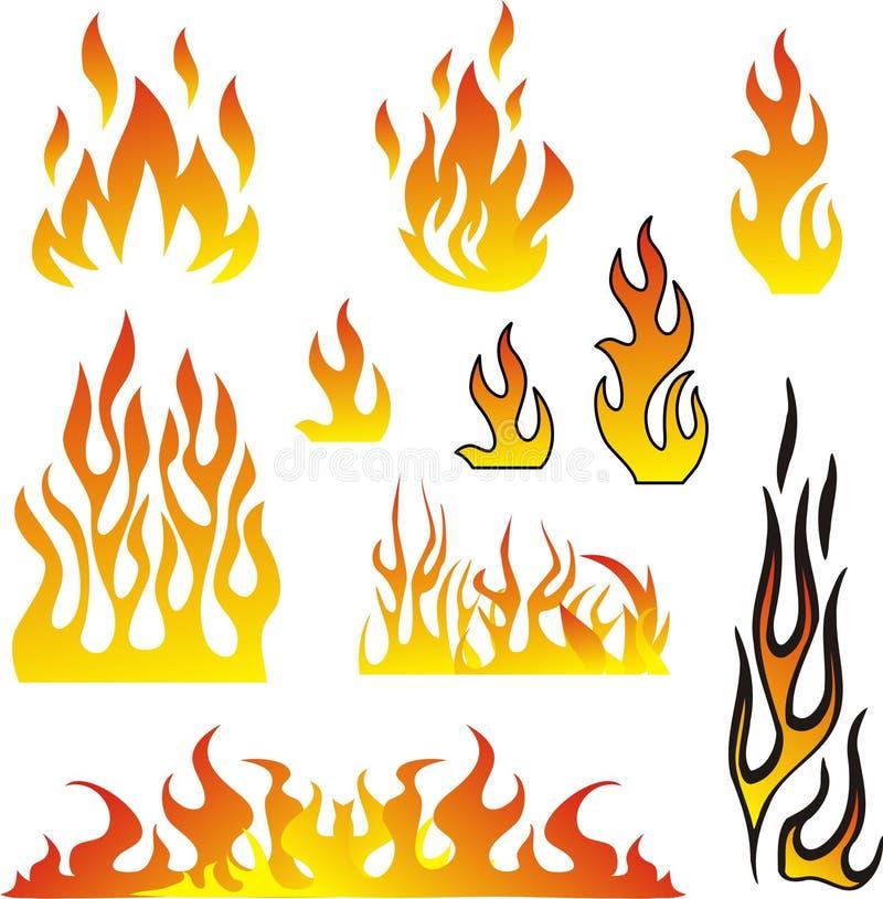 Vecteur réglé par flammes illustration de vecteur