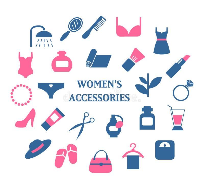 Vecteur réglé par icônes d'accessoires de femme illustration libre de droits