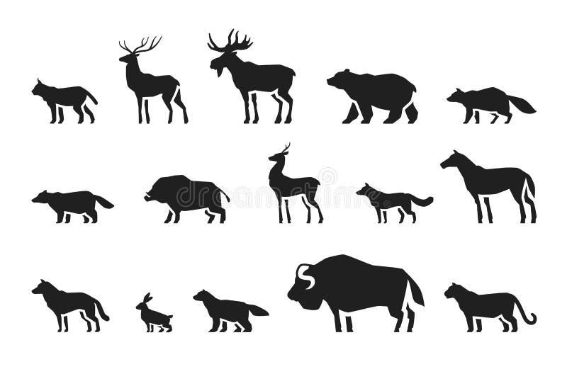 Vecteur réglé par icônes d'animaux illustration libre de droits