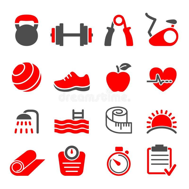 Vecteur réglé par icônes de centre de fitness illustration stock