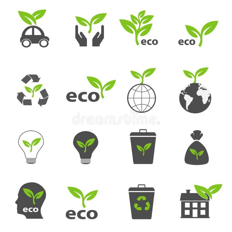 Vecteur réglé par icônes vertes d'écologie et de nature illustration de vecteur