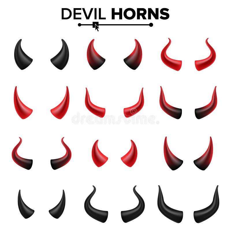 Vecteur réglé par klaxons de diable Bon pour la partie de Halloween Illustration d'isolement par symbole de klaxons de Satan illustration de vecteur