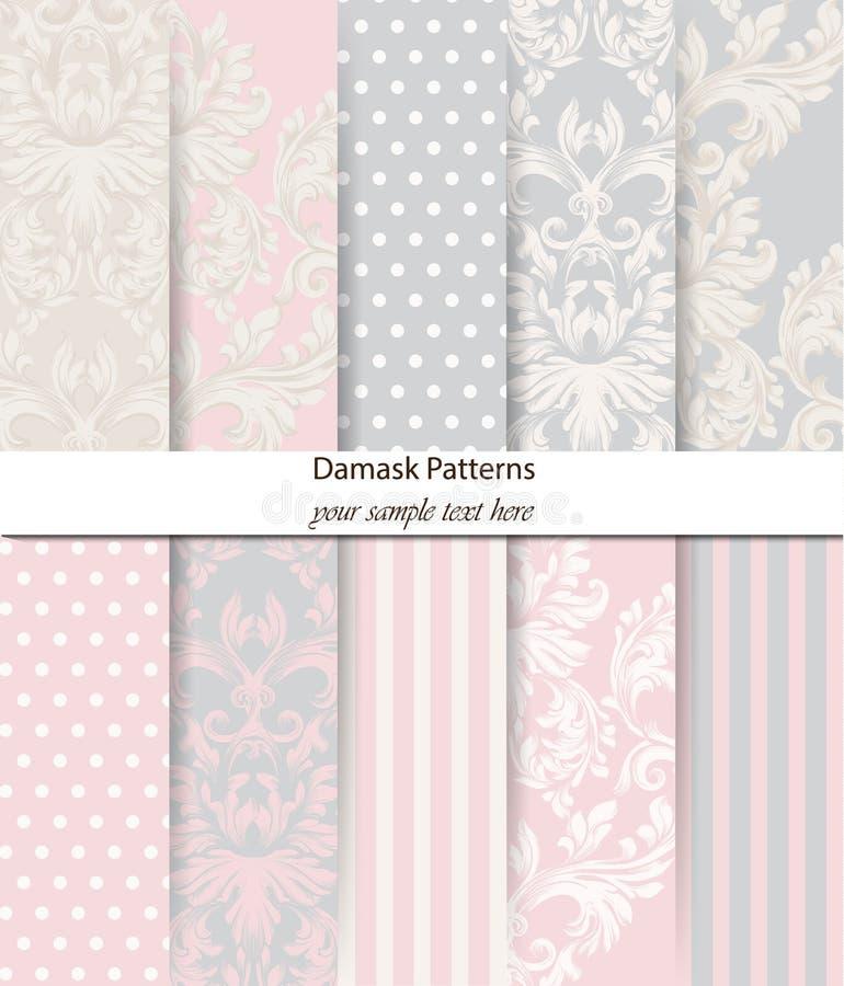 Vecteur réglé par modèles de damassé Décor baroque d'ornement Fond de cru Tissu sensible de couleur en pastel de combinaison illustration de vecteur