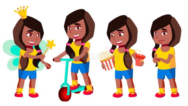Vecteur réglé par poses d'enfant de jardin d'enfants de fille noir Afro-américain précours Jeune personne positive beauté Pour la illustration libre de droits