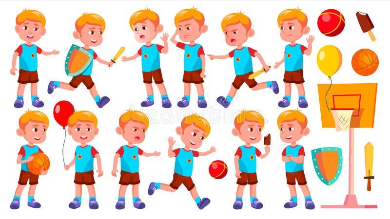 Vecteur réglé par poses d'enfant de jardin d'enfants de garçon Caractère heureux d'enfants surveillance Pour la publicité, saluta illustration libre de droits