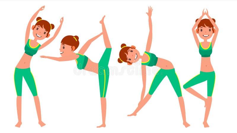Vecteur réglé par poses de femme de yoga Fille Yoga en nature Faire la séance d'entraînement de yoga Illustration plate de bande  illustration libre de droits