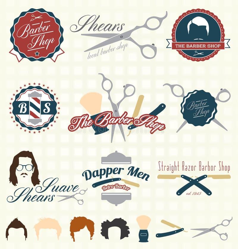 Vecteur réglé : Rétro Barber Shop Labels illustration libre de droits