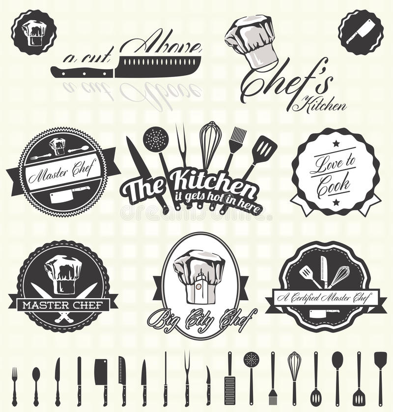 Vecteur réglé : Rétro chef principal Labels et icônes illustration de vecteur