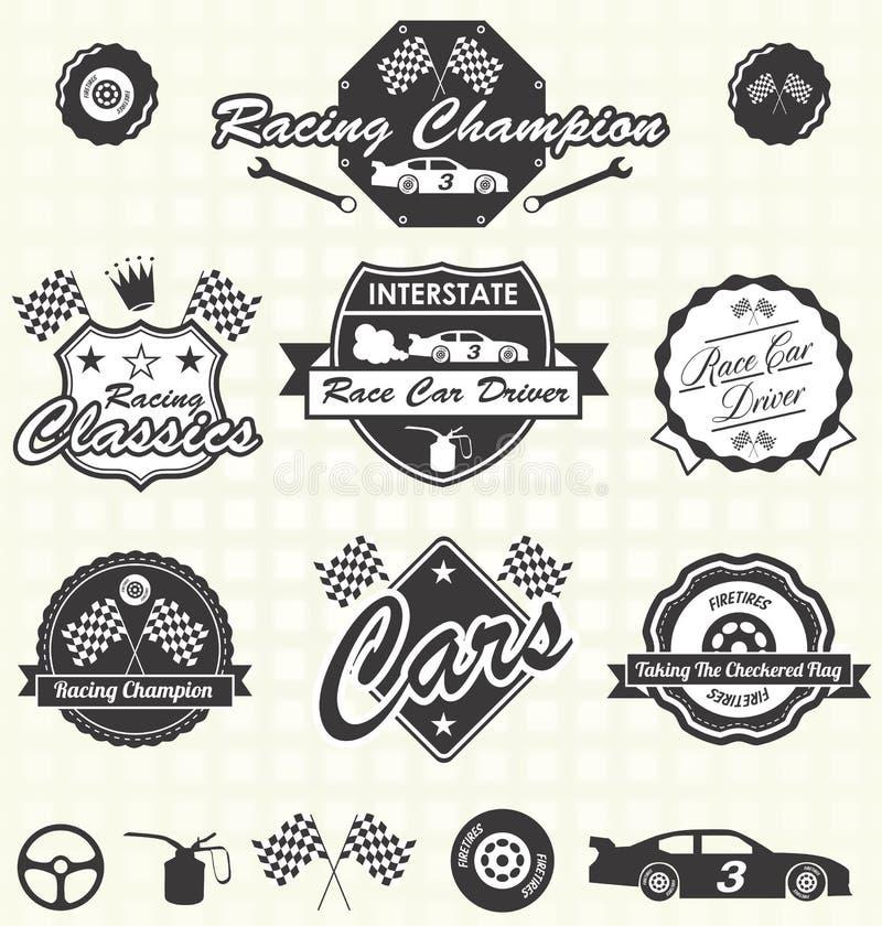 Vecteur réglé : Rétros labels de voiture de course illustration de vecteur