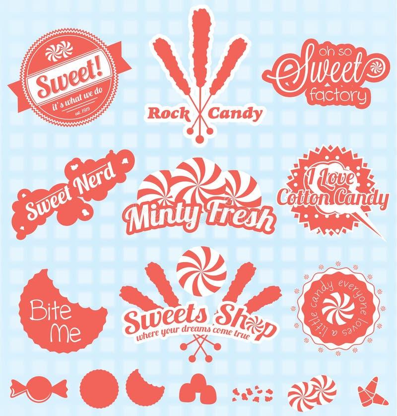 Vecteur réglé : Rétros labels et icônes de boutique de sucrerie illustration libre de droits