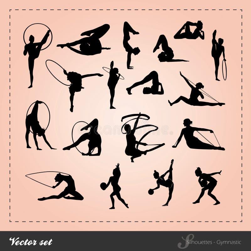 Vecteur réglé - silhouette gymnastique illustration de vecteur