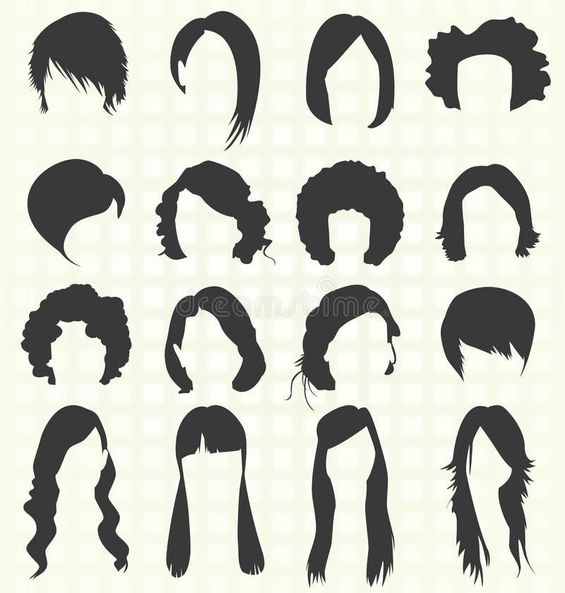 Vecteur réglé : Silhouettes de coiffure de femmes illustration stock