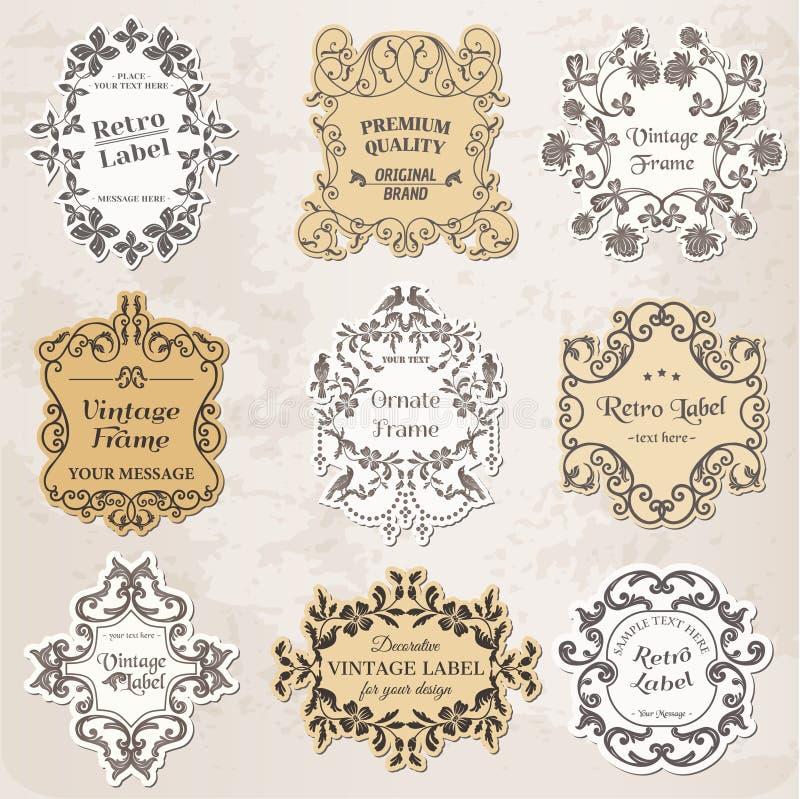 Vecteur réglé : Trames de cru, éléments calligraphiques de conception illustration stock