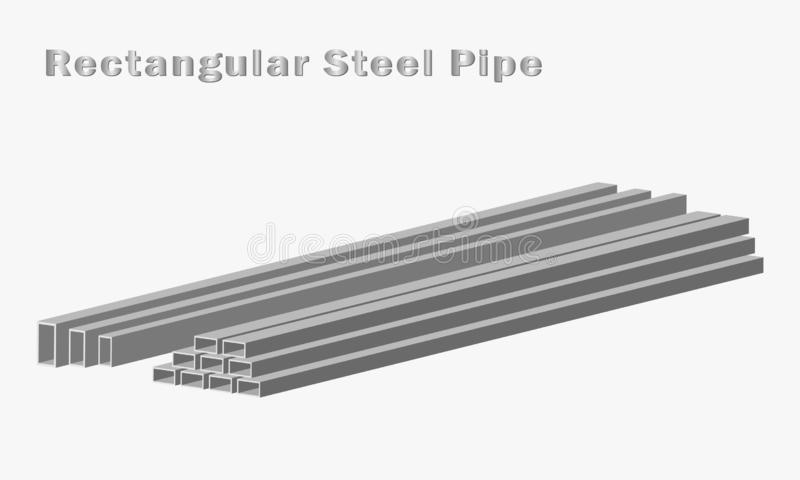 Vecteur rectangulaire de tuyau d'acier, industrie du bâtiment, génie civil illustration libre de droits