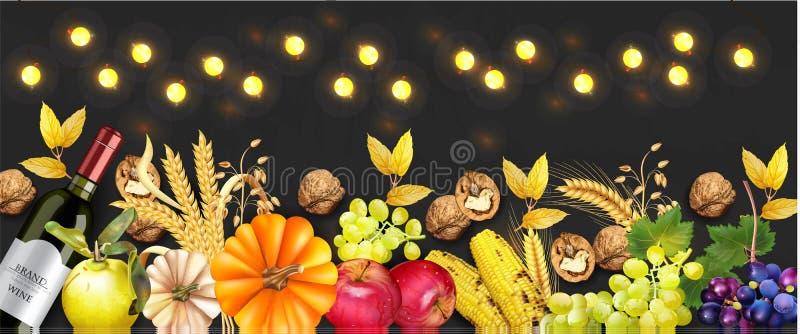 Vecteur riche de bannière de récolte d'automne réaliste Potiron, maïs, raisins, vin, noix Conception 3d détaillée Fond foncé illustration de vecteur