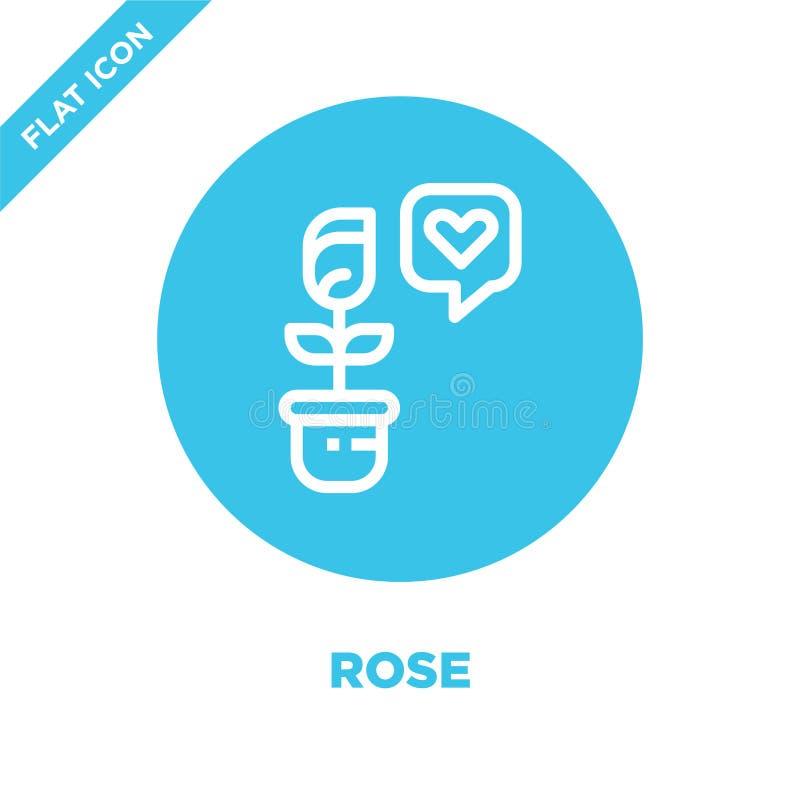 vecteur rose d'icône de collection d'amour La ligne mince a monté illustration de vecteur d'icône d'ensemble Symbole linéaire pou illustration stock