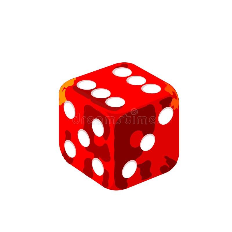 Vecteur rouge détaillé de matrices de casino illustration stock