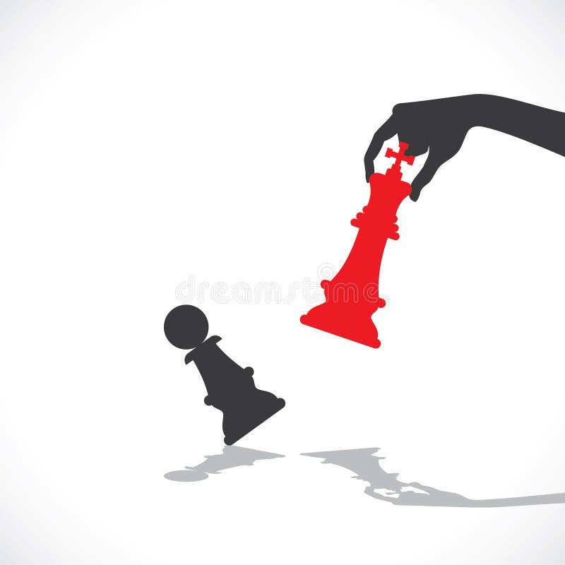 Gage rouge de défaite de roi d'échecs illustration stock