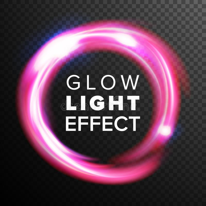 Vecteur rouge d'effet de la lumière de lueur de cercles Ligne remous au néon Ray Streaks d'énergie Fusées abstraites de lentille  illustration stock