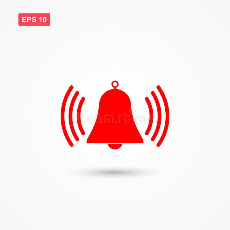 Vecteur rouge d'icône d'alarme de cloche d'anneau illustration stock