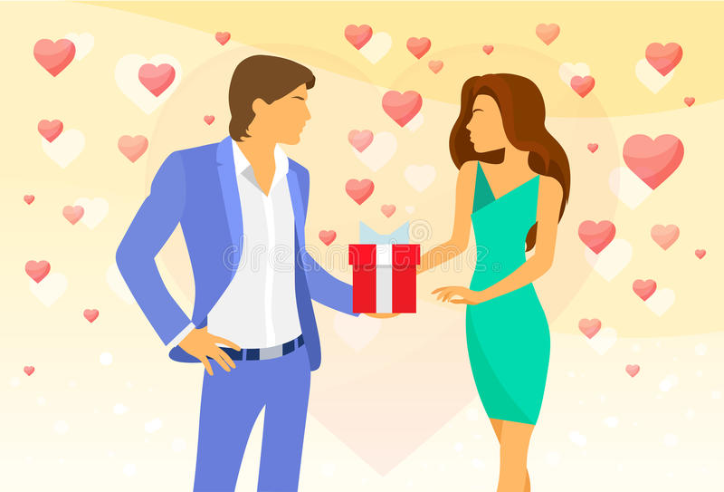 Vecteur rouge de boîte-cadeau de couples de coeur de Saint Valentin illustration stock