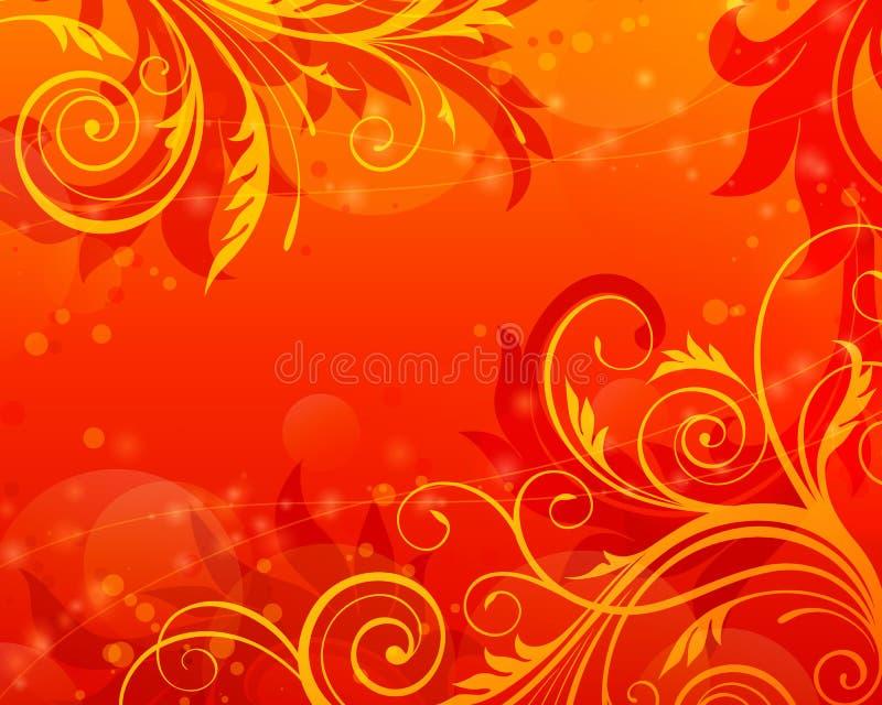Vecteur rouge de cru de fond floral de défilement illustration de vecteur