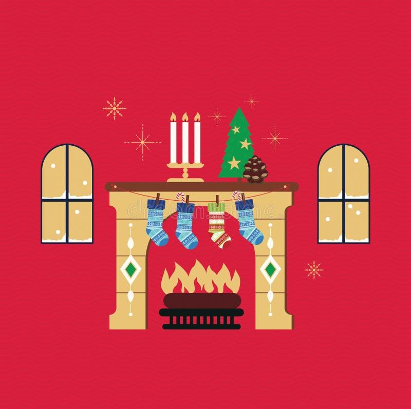 Vecteur rouge de fond de cheminée de Noël photographie stock