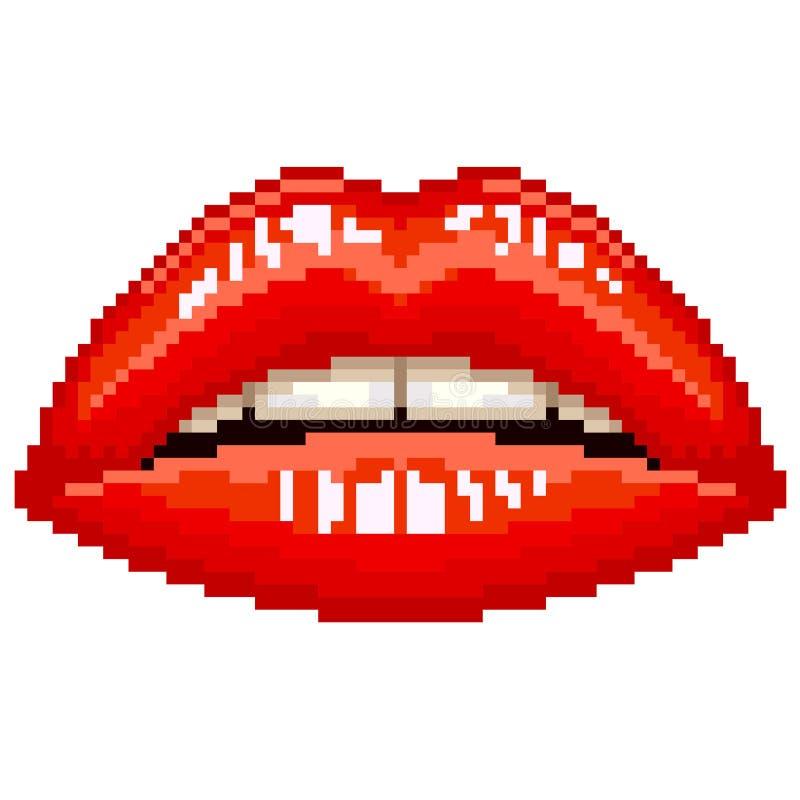 Vecteur rouge de lèvres de femme de pixel illustration de vecteur