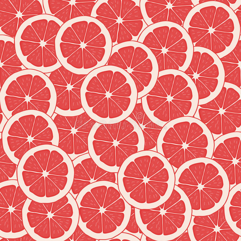 Vecteur rouge de pamplemousse Pamplemousse sans couture de fond de modèle Parts de pamplemousse illustration stock