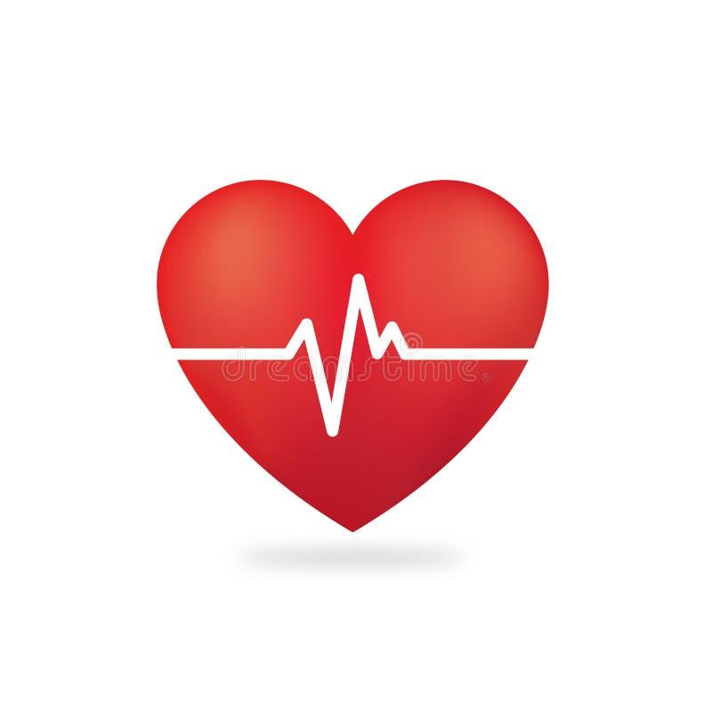 Vecteur rouge de prime de cardiogramme de coeur illustration stock
