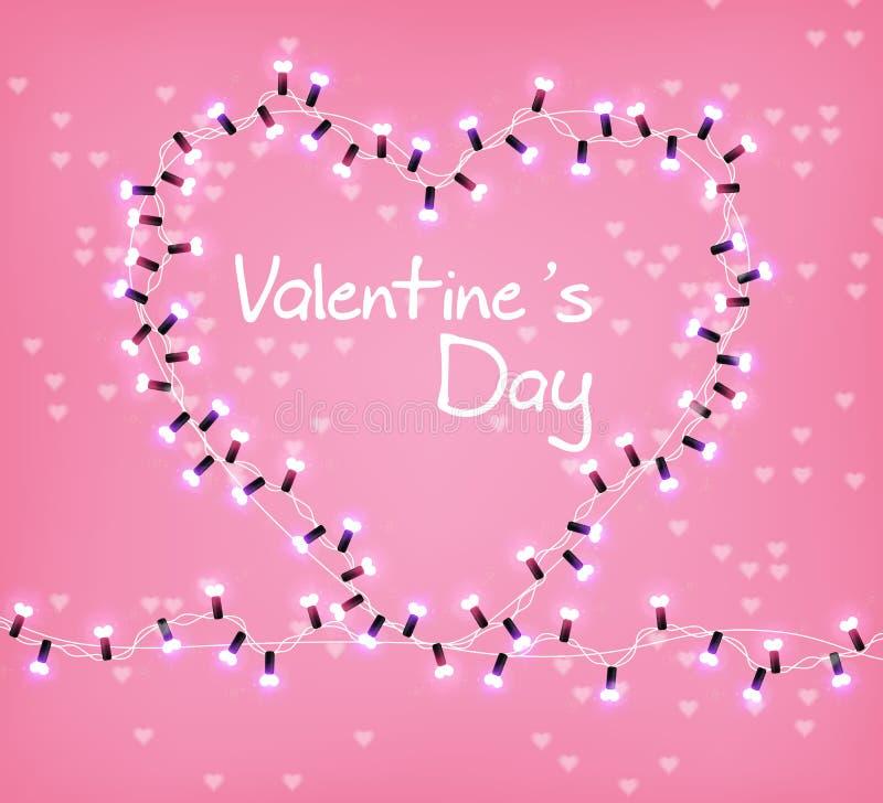 Vecteur rougeoyant de lumières de coeur de Valentine Day Célébrez la carte des textes d'amour Guirlande réaliste de lumières de f illustration stock